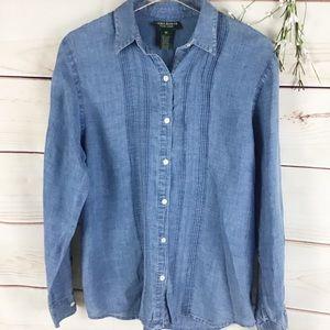Lauren Jeans Co. Linen Blue Chambray Blouse
